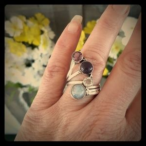 Moonstone, White Topaz and Amethyst Silver Ring. 9